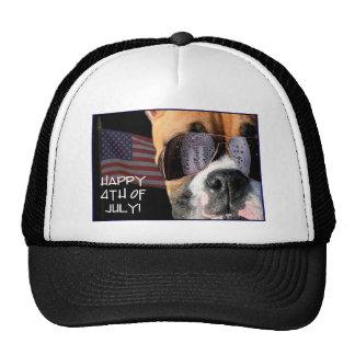 Happy 4th of July Boxer baseball bap Trucker Hat