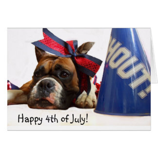 Happy 4th of July Boxer greeting card