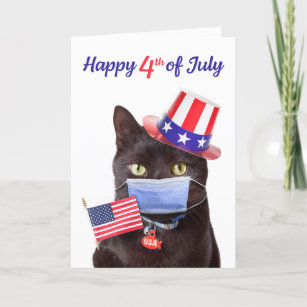 Happy 4th of July Cat in Face Mask Humor Holiday Card