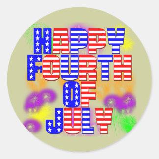 Happy 4th of July Classic Round Sticker