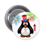 HAPPY 4TH OF JULY Cute Penguin Fireworks Rocket 2 Inch Round Button