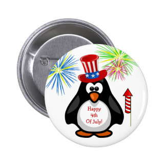 HAPPY 4TH OF JULY Cute Penguin Fireworks Rocket Button