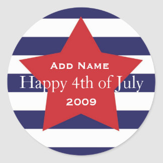 "Happy ""4th of July"" Cutstomizable Favor Sticker"