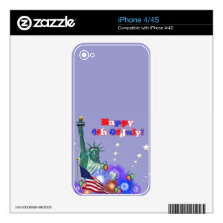 Happy 4th Of July Decal For iPhone 4