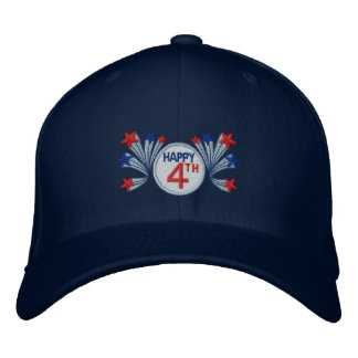 Happy 4th of July Embroidered Baseball Hat