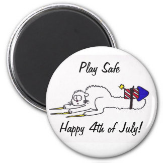 Happy 4th of July firework kitty  independence day 2 Inch Round Magnet