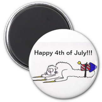 Happy 4th of July firework kitty  independence day Magnet