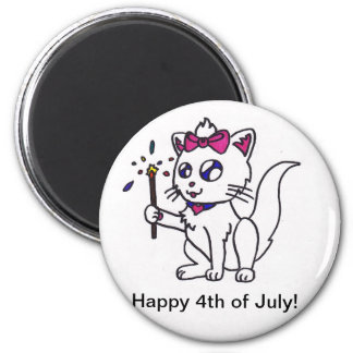 Happy 4th of July firework kitty  independence day Magnets