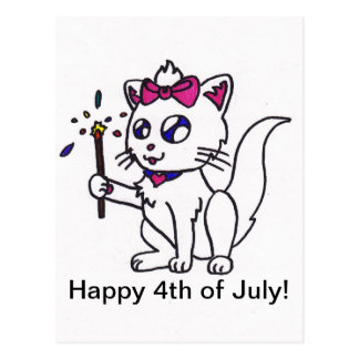 Happy 4th of July firework kitty  independence day Postcard