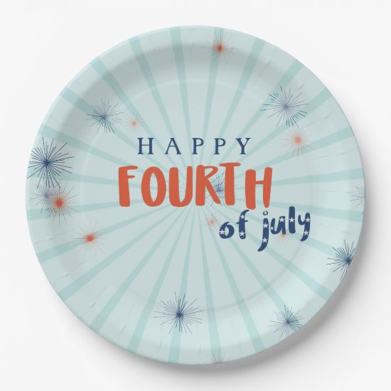 Happy 4th of July Fireworks Custom Paper Plate