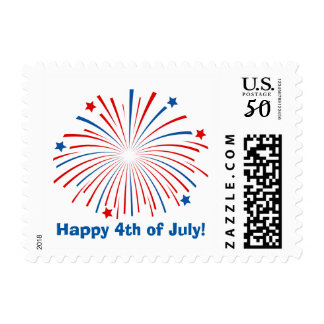 Happy 4th of July fireworks postage stamps