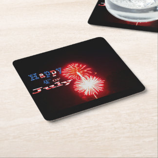 Happy 4th of July Fireworks Square Paper Coaster