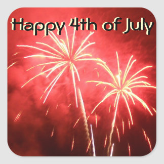 Happy 4th of July Fireworks Square Sticker