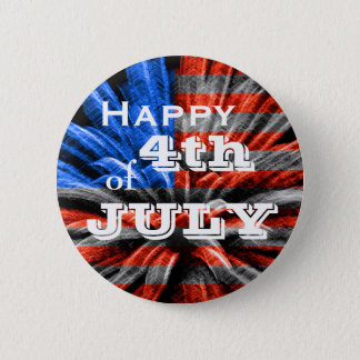 Happy 4th of July Flag Fireworks Pinback Button