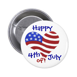 Happy 4th of July Flag Heart - Customizable Pin