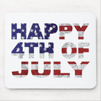 Happy 4th of July Flag Text Outline Txture Illustr Mouse Pad