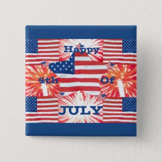 Happy 4th of July Flags Button
