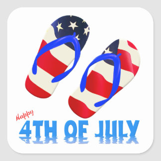 Happy 4th Of July - Flip Flop Square Sticker