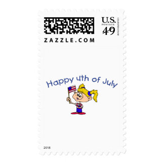 Happy 4th Of July (Girl) Stamp