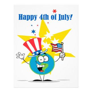 happy 4th of july globe cartoon patriotic flyer