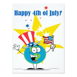 happy 4th of july globe cartoon patriotic 6.5x8.75 paper invitation card