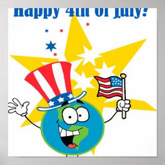 happy 4th of july globe cartoon patriotic poster