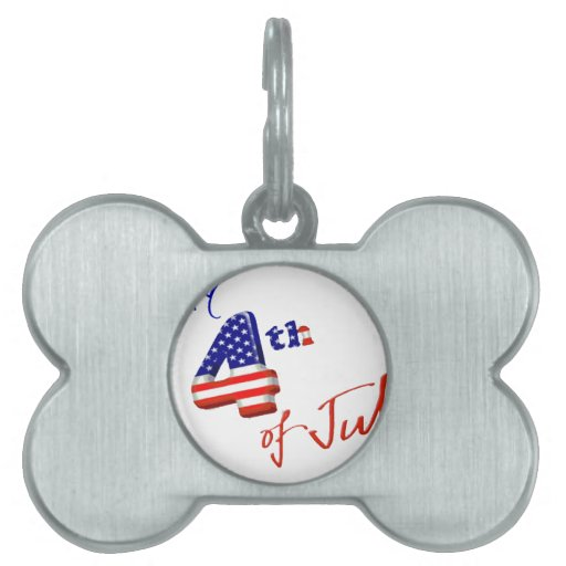 Happy 4th of July, Happy Independence day Pet Name Tags