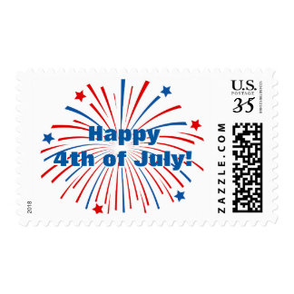Happy 4th of July Independence Day fireworks stamp