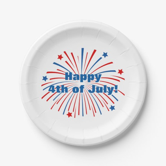 Happy 4th of July Independence Day paper plates
