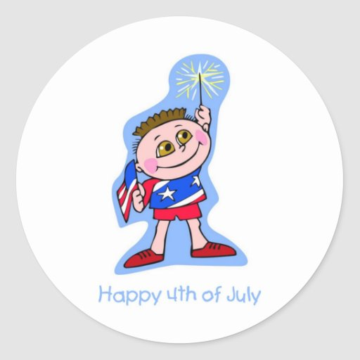 Happy 4th Of July Kid with Sparkler Sticker