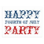 Happy 4th of July party cards for Independence day Postcard