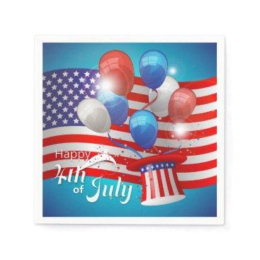 USA Themed Happy 4th of July Patriotic Napkin