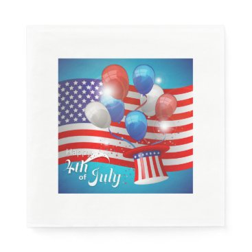 USA Themed Happy 4th of July Patriotic Paper Napkin