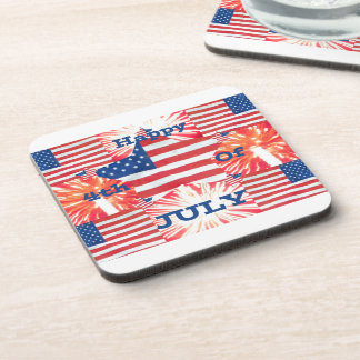 Happy 4th of July Patriotic Plastic Coasters