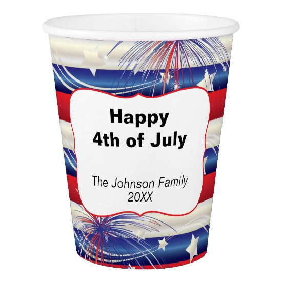 Happy 4th of July | Patriotic Red, White and Blue Paper Cup