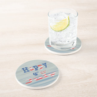 Happy 4th of July Patriotic Sandstone Coaster
