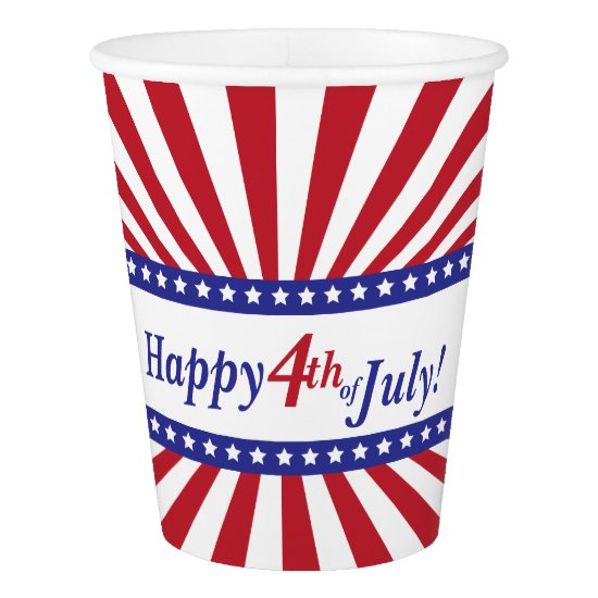 Happy 4th of July Patriotic Stars and Stripes Paper Cup
