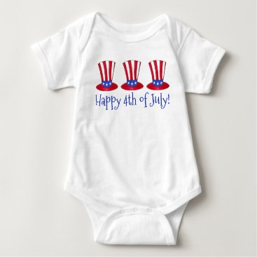 USA Themed Happy 4th of July Patriotic Uncle Sam Hat America Baby Bodysuit