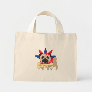 Happy 4th of July Pug in Statue of Libery Hat Mini Tote Bag