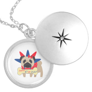 Happy 4th of July Pug in Statue of Libery Hat Round Locket Necklace