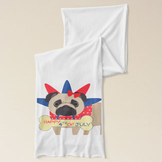 Happy 4th of July Pug in Statue of Libery Hat Scarf