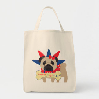 Happy 4th of July Pug in Statue of Libery Hat Tote Bag