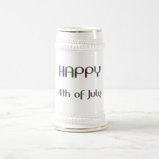 Happy 4th of July Rainbow Glitter Stars Typography Beer Stein
