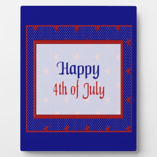 Happy 4th of July, Red Stars on Blue and White Plaque