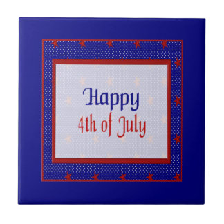 Happy 4th of July, Red Stars on Blue and White Tile