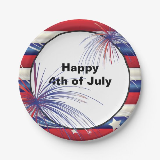Happy 4th of July | Red, White & Blue Paper Plate