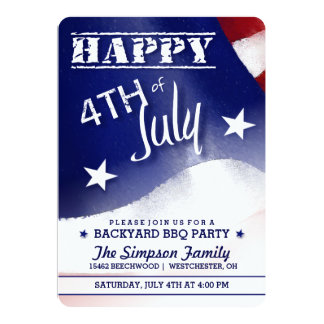 Happy 4th of July Red White Blue Party Invitation