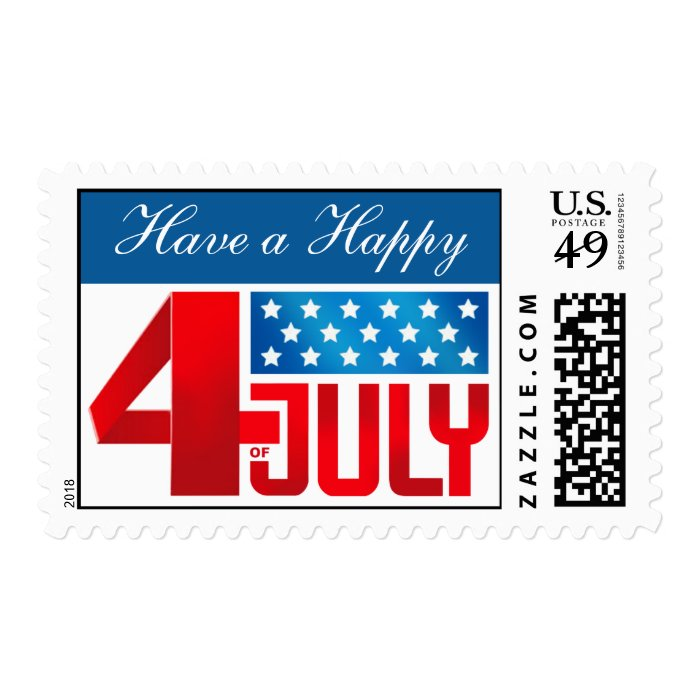 Happy 4th of July Red White & Blue Postage Stamp