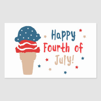 Happy 4th of July Stars and Stripes Ice Cream Rectangular Sticker