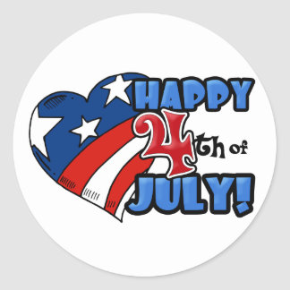 Happy 4th of July Stars & Stripes Heart Round Stickers